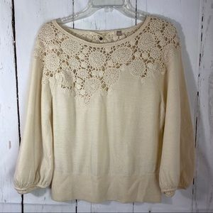 Anthropologie Knitted & Knotted Lrge Beige Crochet